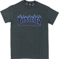 Thrasher Flame Tee Large Charcoal Heather