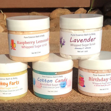 Body Scrub Variety, Samples in 2 oz jars Exfoliating Moisturizing Skin Care PureEssenceBathnBody