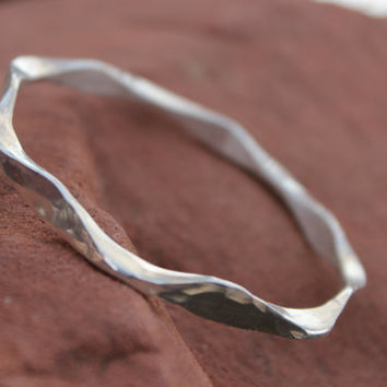 Sterling Silver Bangle Bracelet, The Pleadies, Heavy Handforged 7 Points, Gift For Women, Silver Bracelet, Silver Bangle