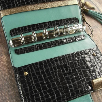 leather binder - black tiles, mint - handstitched