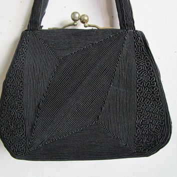 Black 50s Corde Handbag Vintage Cotton Cord 50s Day Purse by Supreme Made in Canada