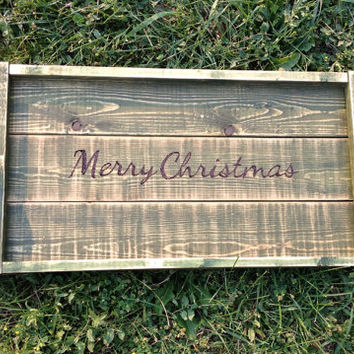 Rustic wooden serving tray with handles, Merry Christmas serving tray, shabby chic distressed tray