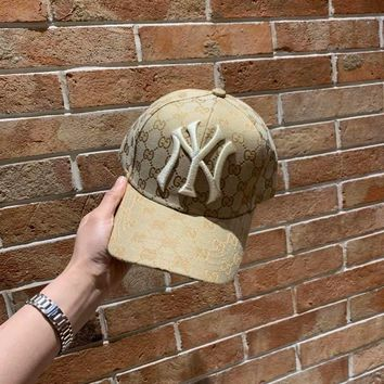 """Gucci x New York Yankees"" Unisex Retro Classic GG Letter Embroidery Baseball Cap Couple Peaked Cap Sun Hat"