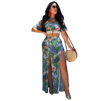 Print Off Shoulder Crop Top with Split Long Skirt Two Pieces Dress Set