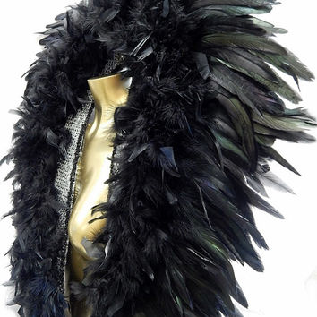 Gothic Raven Feather Collar Silver/Black Huge Collar Unisex Ready 2 Ship