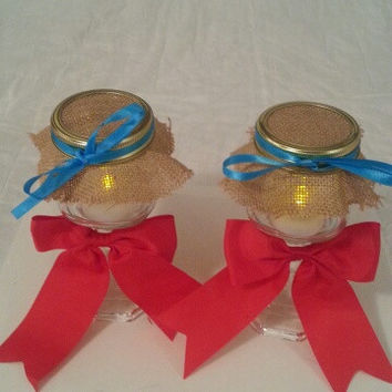 Burlap red and teal wedding candle jar / center piece set. Any color to match your wedding