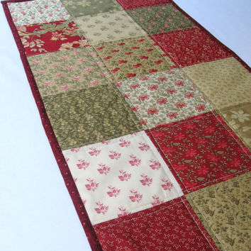Quilted table runner in red, green, beige country floral fabrics