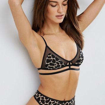 ASOS Mix & Match Leopard & Fishnet Triangle Set at asos.com