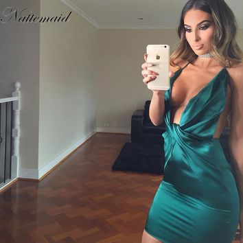 Sexy V-Neck Halter Party Dress Tie up backless bodycon dresses Blue Mini