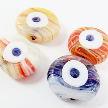 4 Marble Evil Eye Nazar Glass Bead - Traditional Turkish Handmade - Approx 27 mm