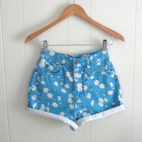 Vintage 90s Floral Daisy High Waisted Denim Shorts Mom Jean Cuffed Blue 23""