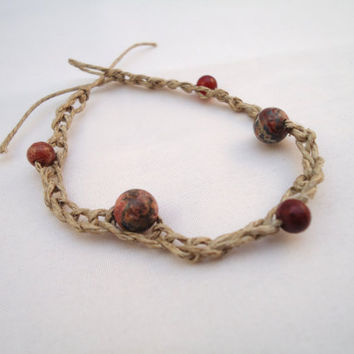 Rustic Hemp Bracelet Crotchet Jasper By Beakez On Ets