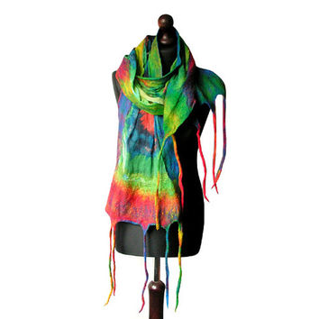 Nuno felted scarf colorful nuno felted collar felted multicolor shawl handmade art to wear rainbow felt spring scarf boho OOAK
