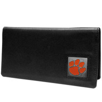 Clemson Tigers Leather Checkbook Cover