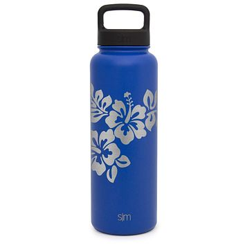 Premium Stainless Steel Water Bottle, Hibiscus Design, Extra Lid, 40oz (Twilight Blue)