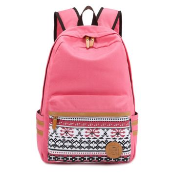 Pink Students Daypack Ethnic Bookbag Canvas Casual Backpack Travel Bag
