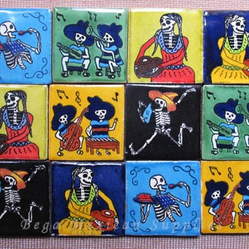 12 Talavera Mexican Tile Mosaic Day of the Dead 2x2 Tiles Clay Tile Magnet