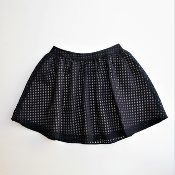 Lush Sheer Check Overlay Circle Skater Skirt XS/S/M/L