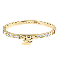 Michael Kors Pave Padlock Hinge Bangle with Signature MK Padlock Charm