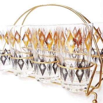 Mid Century Barware, Set of 8 Cocktail Glasses with Caddy, Gold and Black Starburst