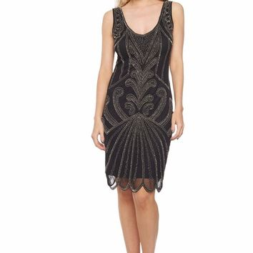 Francesca Art Deco Flapper Dress Black Silver