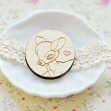 Lovely wooden brooch with Bambi - laser cut wood