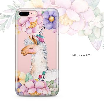 Milkyway Cases FLORAL LLAMA Clear TPU Cell Phone Case for iPhone 7 Plus