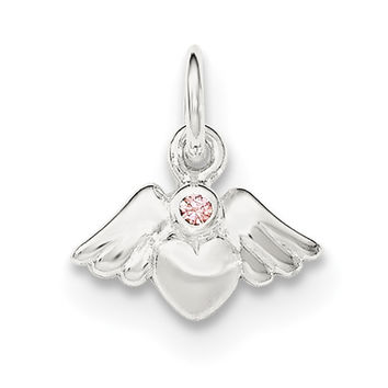 Sterling Silver Polished & Satin Heart w/Angel Wings Pink CZ Pendant