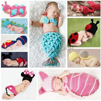 4b6e9605f56 Hot Animals Infant Mermaid Costume Newborn Hat Butterfly Kids Cl