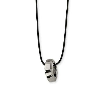 Men's Tungsten Polished Leather Cord Necklace