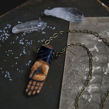 talisman • hand necklace - hand amulet - witch jewelry - wooden hand pendant - pagan jewelry - wood carved pendant hamsa hand