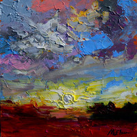 Big Sky January - Original Oil Painting , Southern Abstract  Landscape Painting by Claire McElveen  ,12 x 12  Framed or Unframed