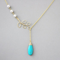 Turquoise, Bead, Stone, Branch, Tree, White, Pearl, Gold, Silver, Necklace, Wedding, Bridal, Bridesmaid, Party, Birthday, Gift, Jewelry