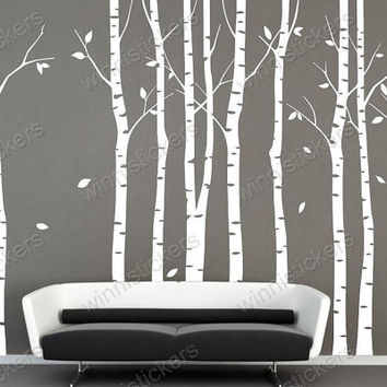 Vinyl WalDecal Nature Design Tree Wall Decals Wall stickers Nursery wall decal wall art------9 birch trees