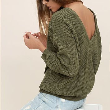 Island Ferry Olive Green Sweater