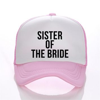 Sister Of The Bride Print Flat Bill Visor Trucker Caps Summmer Fashion Bachelorette Hats Adjustable Snapback Hats Free Shipping
