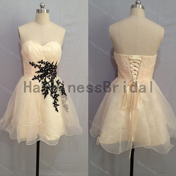 Party dress,short prom dress ,sweetheart organza prom dress with black applique,short evening dress,hot sales dress,formal evening dress