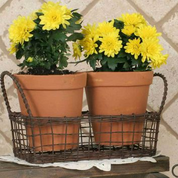 Small Wire Basket with Terra Cotta Pots - Green/Rust