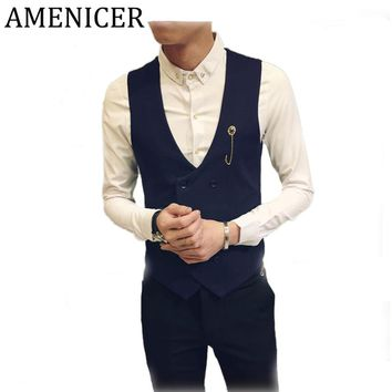 Men Casual Dress Vests Double-Breasted Sleeveless tweed waistcoat suits for Mens casual Vest Social wedding Evening Dress Jacket