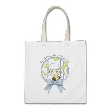 Cute Animal Tote Bags: Lamb, Moon, and Stars: Hold Onto Your Dreams: Baby Shower or Girl Birthday Gift Idea