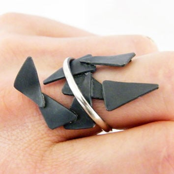 Broken pieces. sculptural , artistic , sterling silver ring, handmade contemporary ring, unusual statement ring