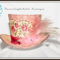Pink Rose Victorian-Mini Top Hat