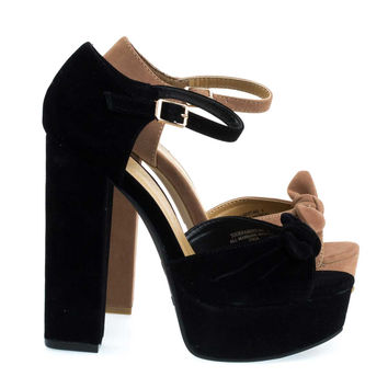 Tournament66 Black By Bamboo, Retro Open Toe Chunky Block Heel Sandal On Platform & Ankle Strap