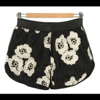 Floral Organza Shorts Black