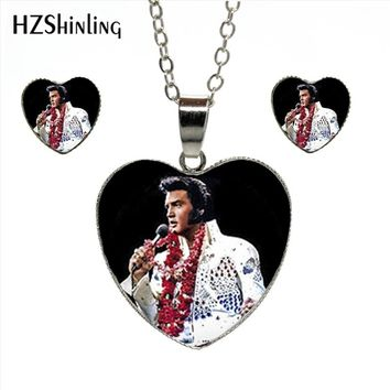 HES-026 New Elvis Presley Heart Jewelry Set Elvis Presley Jewelry Rock Star Murano Glass Heart Stud Earrings Pendant Necklace