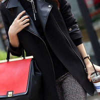 Simple Cblique Zipper PU Leather Stitching Long Woolen Overcoat,Cheap in Wendybox.com