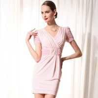 V neck Short Sleeve Pink Dress - Designer Shoes|Bqueenshoes.com
