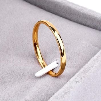 Gold Anti-allergy Wedding Band Rings, Unique Simple Ring