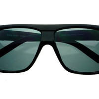 Designer Fashion Retro Square Flat Top Sunglasses Black FT471