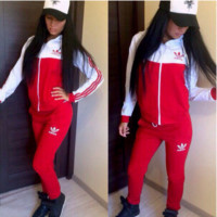 """ADIDAS""  The new women's sports leisure suit Red"